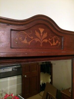 Antique Art Nouveau Edwardian Mahogany Inlaid Shelf Over Mantle Large Mirror
