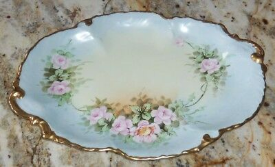 Rare W.g.& Co Limoges France Hand Painted Pink Floral Flowers Platter Dish Plate