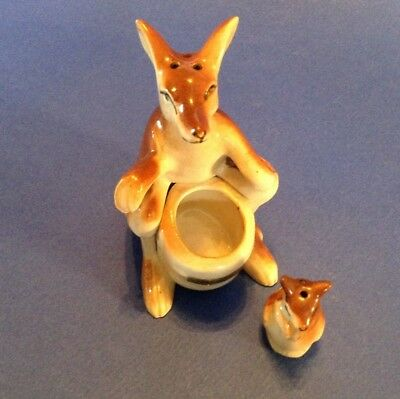 Salt And Pepper Shakers - Hand Painted Kangaroo With Tiny Joey In Pouch - Japan