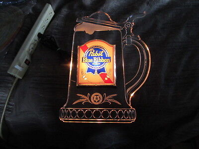 Vtg Pabst Blue Ribbon Beer Sign With Light Up Foaming Beer Mug Stein Old Bar Pub