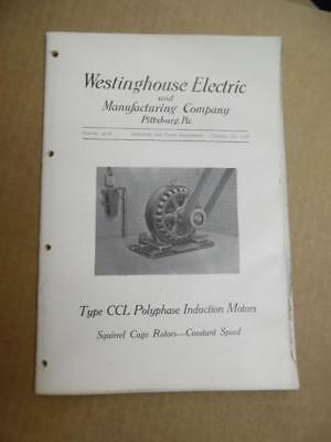 1908 Westinghouse Electric Type CCL Squirrel Cage Motor Catalog Antique ORIGINAL