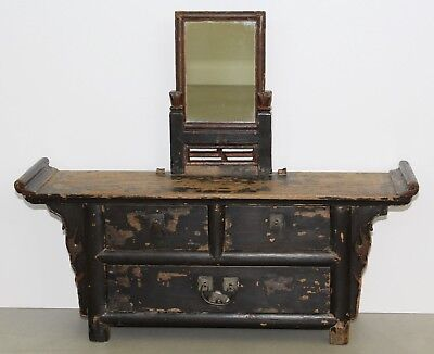 Chinese Qing Elmwood Elm Wood Mirrored Vanity Cabinet Mirror Cosmetic Chest