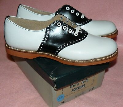 50s 60s vtg NOS Saddle Shoes oxford cheerleader bearfoot rockabilly sock hop 4