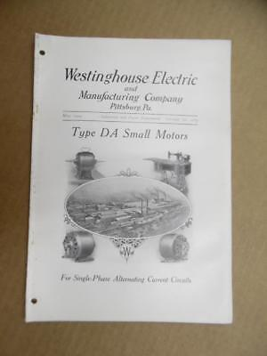 1909 Westinghouse Electric Type DA Squirrel Cage Motor Catalog Bulletin Antique