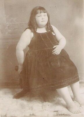 YOUNG CIRCUS SIDESHOW FAT GIRL Antique FREAK PHOTO! 1880s CARNIVAL HISTORY Obese