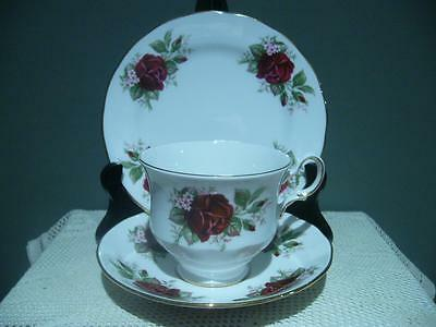 Queen Anne Bone China Gilt Floral Trio - Burgundy Roses - High Tea - Vintage -Gc