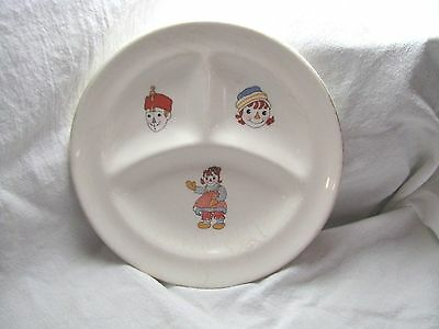 Vintage Raggedy Ann And Andy Ware Sectioned Dish By Crooksville Cpyrt 1941
