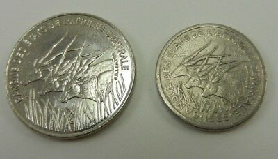 Central African States - Equatorial Guinea - 100 & 50 Francs coins - USA Seller