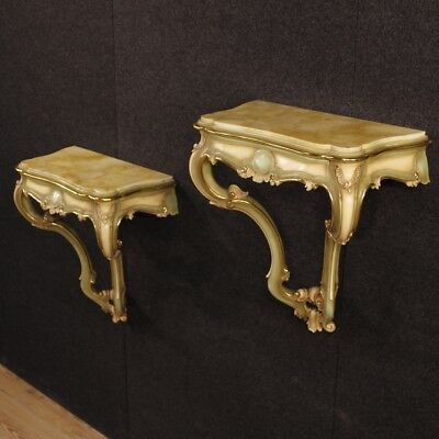 Pair of console lacquered furniture side tables golden wood antique style 900