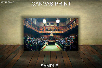 CANVAS PRINTS FRAMED or ROLLED FROM A4 - Banksy Monkey Parliament