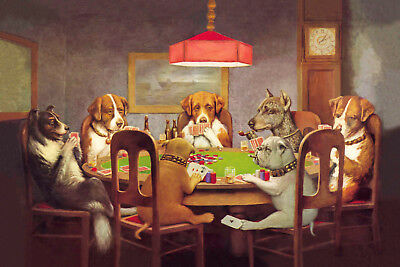 Dogs playing poker - CANVAS PRINTS FRAMED or ROLLED FROM A4