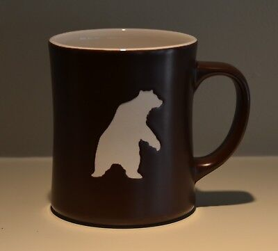 STARBUCKS Yukon Blend MUG 2010 etched bear brown and white COFFEE
