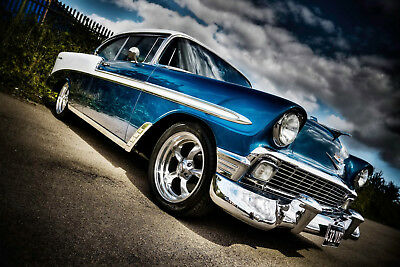 CANVAS PRINTS FRAMED or ROLLED FROM A4 - BLUE SHINY OLD VINTAGE CAR