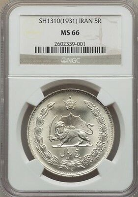 Iran Reza Shah Sh1310 (1931) 5 Rials Silver Coin Uncirculated Certified Ngc Ms66