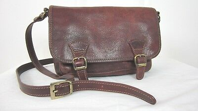 Women Vintage Brown Leather Messenger Cross Body Bag  Purse Made In Italy