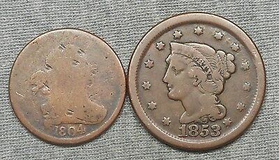 Lot Of 2 US Copper Coins - 1804 Half Cent & 1853 Braided Hair Large Cent