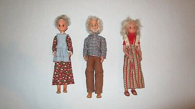 Vintage 1973 Mattel Sunshine Family Dolls Grandma Grandpa Mom Stephie
