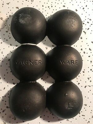 RARE ( Marked )Vintage Wagner Style 'L' Gem Pan - Cast Iron Golf Ball Pan