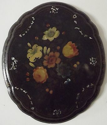 Antique Victorian Papier Mache Tilt-Top Table Top Painted Mother Of Pearl Inlay