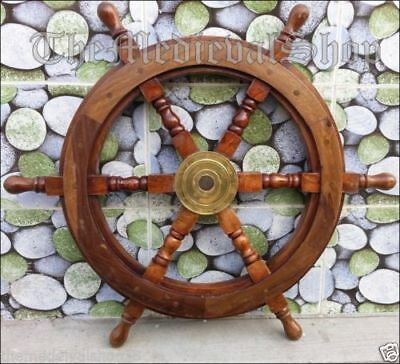 """24"""" Authentic design wooden Ship Wheel Boat Steering Ships Decor Vintage Gift"""