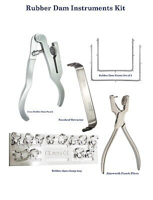 Dental Rubber Dam instruments Ainsworth Clamps Stand Ivory Punch pliers Farabeuf