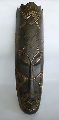 African Tribal Wood Mask Face Décor Wall Hanging Large Golden