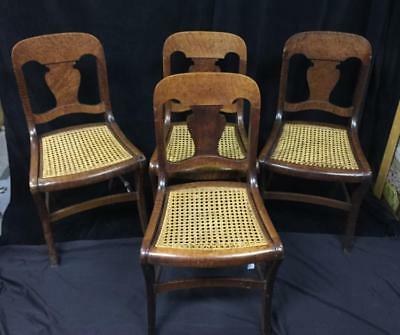 Four burled wood cane seat dining chairs Lot 168