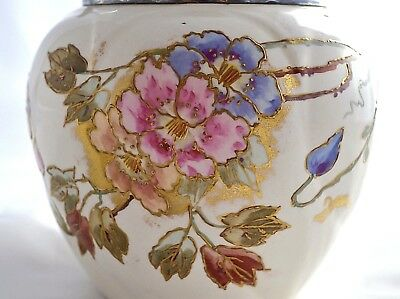 Antique Franz Anton Mehlem Bonn Germany Hand Painted & Gilded Jar & Cover  C1884