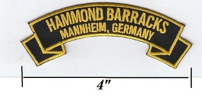 "Hammonds Barracks,Mannheim Germany embroidered patch (typo) missing ""s"""