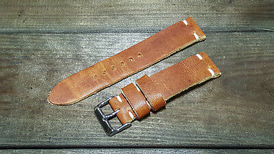Leather watch band, custom made of Horween Dublin Cognac, handmade in Finland