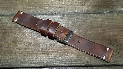 Leather watch band, custom made of Horween Dark Brown Cxl, handmade in Finland