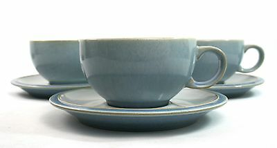 Denby Blue Jetty White Tea Cups & Saucers Set of 3. 4""