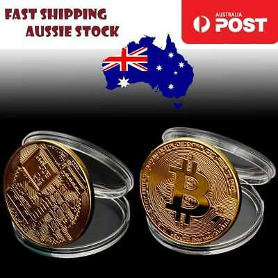 2pcs Gold Plated Bitcoin Bitcoins Bit Coin BTC with Case Gift Home Decoration AU