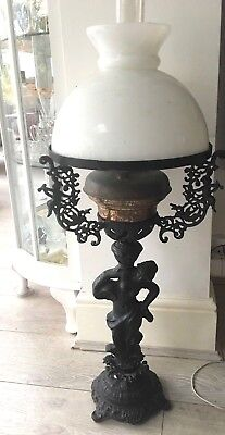vintage antique  large heavy metal lady form oil lamp milk glass shade