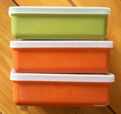 Tupperware 3 square storage containers orange/green complete with clear lids