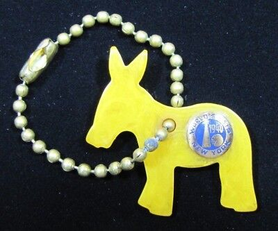 Orig 1940 New York World's Fair DEMOCRAT Party DONKEY Keychain RHTF NYWF