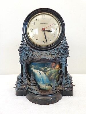 Vintage Old Waterfall Motion Lamp Antique Clock + Working ,lots Of Ornate Detail