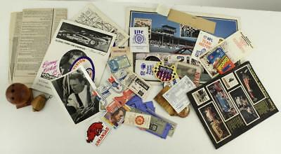 Vintage Mixed Lot Paper Ephemera SPORTS Car Racing Patches Ticket Stubs Stickers