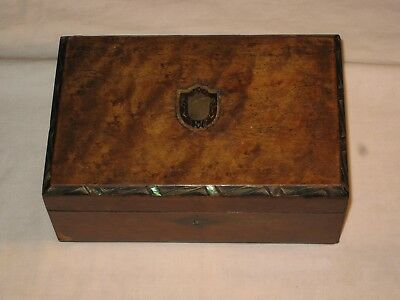 Antique Victorian Abelone Inlaid Wooden Jewellery Box Fitted Interior