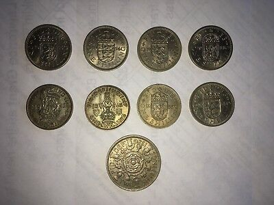 Lot of 9 Great Britain Shilling coins: 1-Two Shilling; 8-One Shilling (1942 etc)