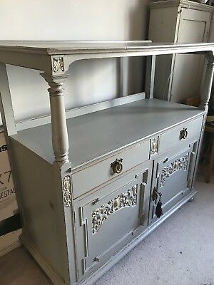 Antique buffet/ sideboard, Solid wood, painted with brass handles and details.