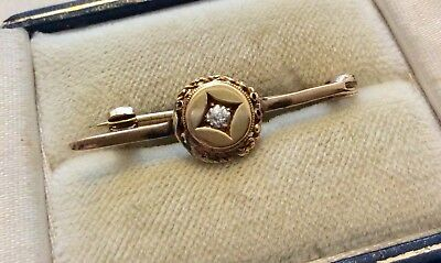 Nice Very Old Stamped Antique 9 Carat Gold Diamond Set Sweet Brooch