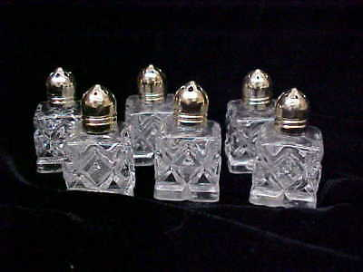 """6 Vintage SMALL Crystal Cut Silver Plated Salt & Pepper Shakers 2"""" Made Japan  e"""