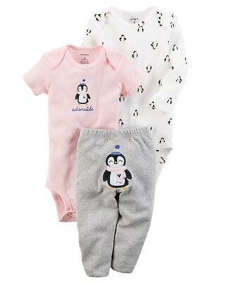 New Carter's Girls 3 Piece Outfit Set 24m Turn Around Penguin Bodysuit Tops Pant