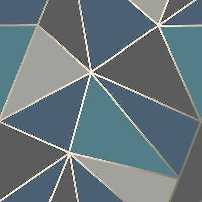 Apex Geometric Wallpaper Aqua Navy Blue Fine Decor Fd42001 Silver