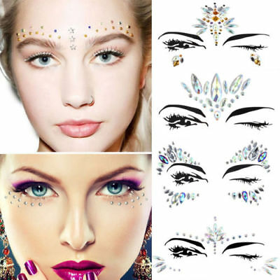 Glitter Adhesive Stickers Tattoo Face Body Gems Rhinestone Jewels Festival Party