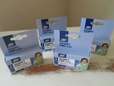 8 PAIRS Boots Children's Flight Earplugs With Carry Cases NEW + BOXED (REF A98)