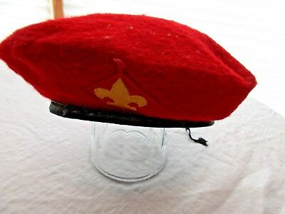 Vintage Official Head Wear Boy Scouts Of America Red Wool Beret Small Hat