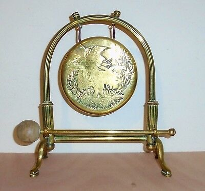 Elegant Antique Victorian Neo Classical Brass Dinner Gong & Striker