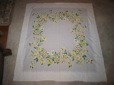 Vintage Square Yellow Flowered Tablecloth Very Nice!!!